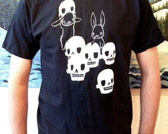 Mens T Shirt - The Skull Collectors - Black and White - Skulls and Bunny Rabbits Design - Small Medium Large XL XXL Tee Shirt Sizes