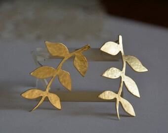 Gold branch of leaves earrings, gold stud earrings, wedding jewelry, bridal earrings, statement earrings, handmade studs, wedding earrings
