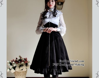 Gothic Lolita Steampunk Boned Elastic High Waist Heavy Skirt&Big Bow