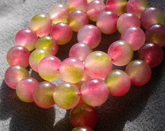 "half strand 24pcs Watermelon Tourmaline 10mm round Chalcedony  Gemstone beads 7""  B13"