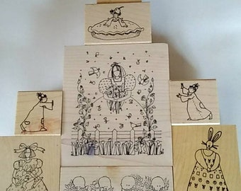 Mounted Rubberstamps group of 12