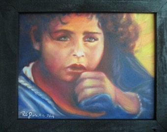 Original Oil painting, small child in blanket 8x10inch framed