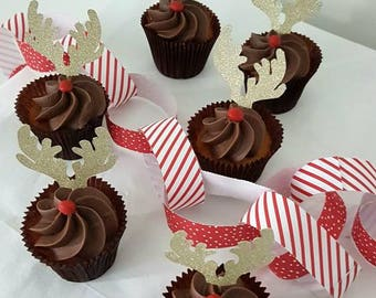 Reindeer 6x cupcake topper Christmas rudolph cake decoration