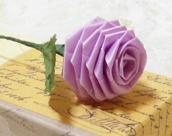 10 Single Origami Roses in Lavander