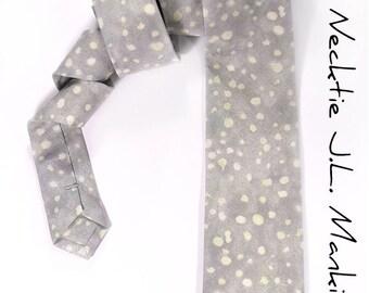 Wedding Mens Necktie Light grey and cream dots Tie