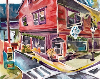 Painting of Art Gallery - Original Watercolor and Ink Plein Air Painting by Jen Tracy