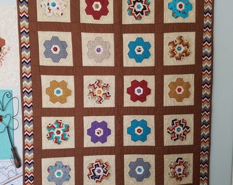 Brown Hexies Quilted Wall Hanging