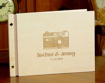 Unique Wedding Wooden Guest Book Camera Bride and Groom Names Personalized Custom Wooden Cover Laser Engraved