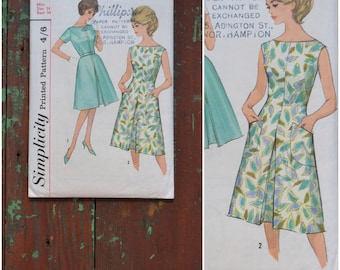 Vintage 1960's Sewing pattern, Simplicity Printed Pattern 4898, Misses' one piece dress, Bust 34, 60's dressmaking pattern, mod