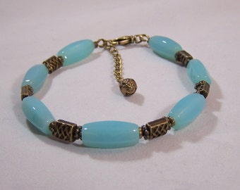 Aqua Oval Glass and Antique Brass Bracelet