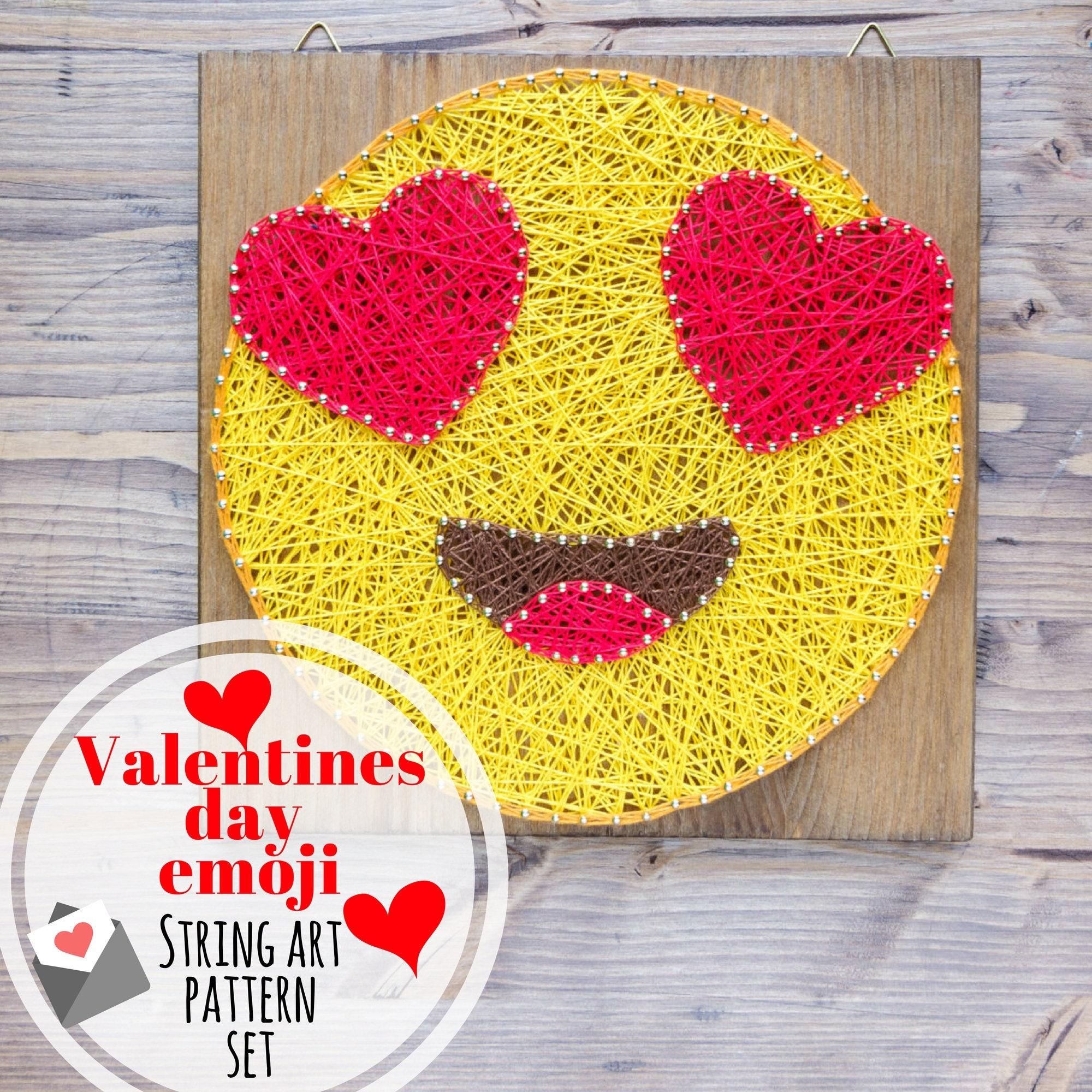 Valentines day emoji string art pattern set, in-love emoji, kiss ...