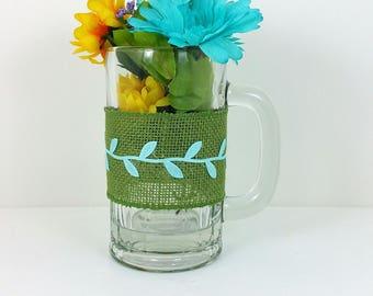 Burlap glass mug yellow and blue flowers with blue leaf trim 113