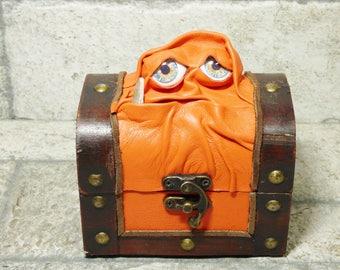 Mimic Monster Dungeons And Dragons Magic The Gathering Desk Organizer Trinket Stash Dice Box Orange Leather  25