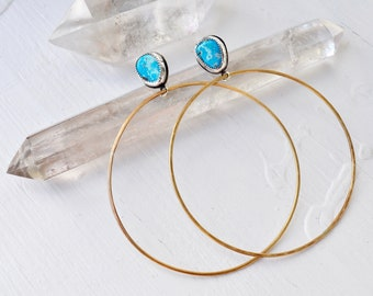 Sky People Collection | Turquoise x Brass x Sterling Silver | Circles in the Sky Hoop Earrings