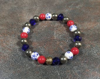 Beaded Bracelet, Red, Gold, Navy Blue, White, Stretch Bracelet, Pearl Bracelet, Gemstone Bracelet, Pyrite, Crystal Bracelet, Strand Bracelet