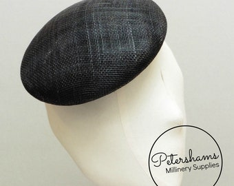 17cm Round Sinamay Button Fascinator Hat Base for Millinery & Hat Making - Black