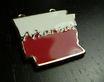 Red and White Enamel Arkansas State Pendant
