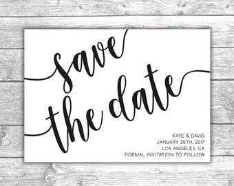 DIGITAL FILE - Save the Date Card - Bw 2, Printable Invitation, Wedding Invite, Engagement, Love