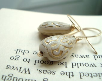 Bridal Earrings Cream Baroque Teardrops Gold Bridal Jewelry Vintage Style Period Costume Weddings Small Dangles Gifts Under 30