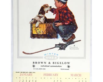 Vintage 1973 2018 Norman Rockwell A Boy and His Dog Calendar