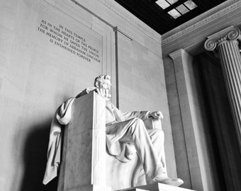Lincoln Memorial, Washington DC // Black and White Fine Art Photography // Square Photo Print