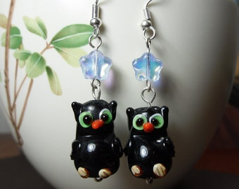 Black Owls under Blue Stars Earrings - cute  lampwork glass owls and glass stars on silver earwires -Free Shipping USA