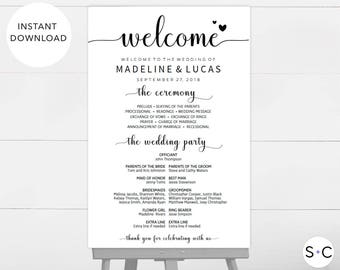Wedding Program Sign, Wedding Welcome Sign, Program Sign, Wedding Signage, Wedding Programs, Large Program Sign, DIY Wedding