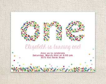 ONE sprinkle dots first birthday party invitations