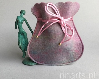 Drawstring bag / drawstring pouch / drawstring purse in pink and touches of blue hand dyed wool felt. Gift under 10.
