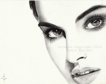 Art Print signed, portrait of Natalie Portman, graphite drawing