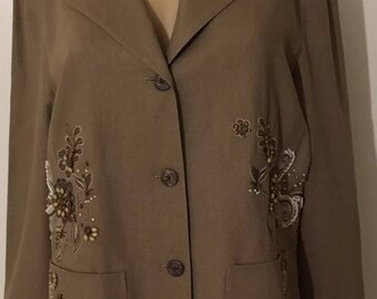 Vintage Coldwater Creek Embroidery Beaded Women's Brown Blazer Size L