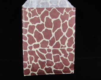 Giraffe Favor Bags, Candy Buffet Bags, Candy Bags, Bakery Bags, Paper Bags, Birthday Parties, Packaging, Baking Supply, Wedding - Qty 12