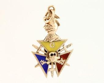 Knights of Pythias 10K Pendant Charm Fob Antique KofP - 1900