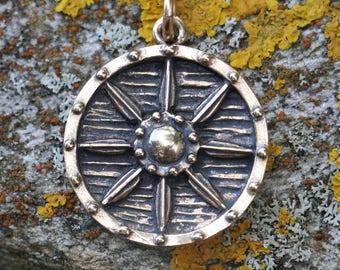 VIKING SHIELD Bronze Pendant Charm Amulet Warrior Protection Protective Pagan Norse Berserker Vikings Armour Medieval Round Jewelry Asatru