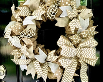Burlap Wreath with White Chevron, Polka Dot, and Quatrefoil - 18 or 22 inches- Front door, wedding, or accent - Summer, Fall, Winter, Spring