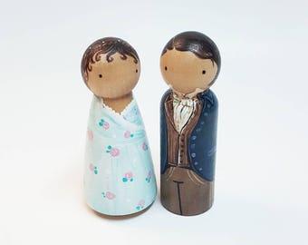 Pride and Prejudice : Mr. Darcy & Elizabeth Bennett Wooden Pegdolls Handpainted - Made To Order