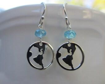 Earth Earrings, Sterling Silver, World, Globe, Apatite, Teal, Round, Circle, Irisjewelrydesign