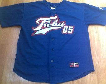 FUBU t-shirt, vintage jersey of 90s hip hop clothing, sewn, 1990s hip-hop shirt, old school basketball, OG, gangsta rap, size XL