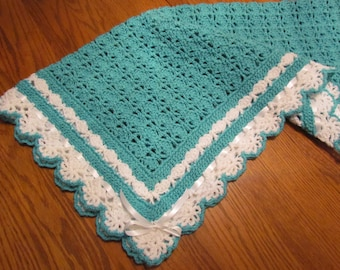 Crochet Baby Blanket Heirloom Lace Boutique Quality Baby Afghan Crib Size Blanket in Turquoise Ribbon Trim - Ready to Ship - Direct Checkout