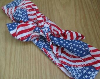 Womens Headband, American Flag Bandana, USA Head Bandana, 4thOfJuly, Knotted Hairband, PinUp Hair Band, USA ,RockaBilly HairBand Women #FJ
