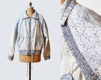 Vintage 80s Stone Acid Wash Bleached Lace Denim Jacket / 1980s Oversized Faded Denim Zip Up Drawstring Jean Jacket m