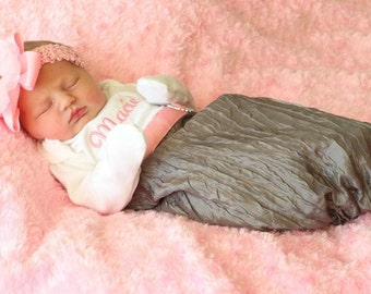 Newborn Girl Take Home Outfit Baby Girl Clothes Persoanlaized Layette Gown & Shabby Chic  Headband New Baby Gift Set  Monogrammed Layette