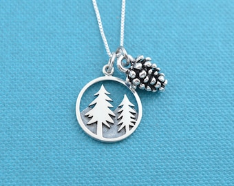 "Pine tree and pine cone charm pendants on sterling silver 18"" Box Chain.  Pine tree necklace.   Pine cone necklace."
