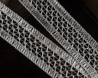 "1-1/2"" Metallic SILVER Braid Trim by 2-yards, MAY-DN6758"