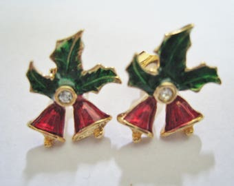 Small Christmas Bell Pierced Earrings