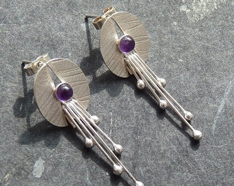 Sterling silver stud earrings with amethyst. Silver post earrings. Amethyst earrings. Silver jewellery. Handmade. MADE TO ORDER.