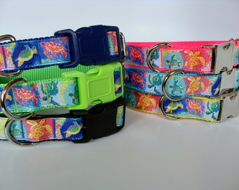 Colorful SeaTurtle Dog Collar - Ready to Ship!