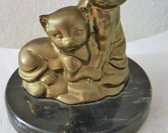 2 Brass Cats on Marble Base