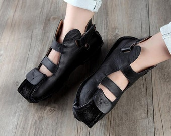 Handmade Summer Shoes for Women,Flat Shoes, Casual Shoes,Sandal, Retro Oxford Shoes, Vintage style Green Leather Shoes