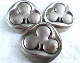3 Vintage Silver Metal 3 Leaf Clover Shank Button Vintage Button